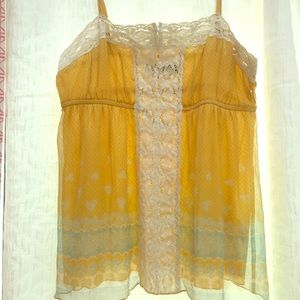 Free People yellow lace tank, Sz Small/8. Like new